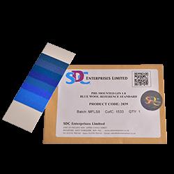Синие шерстяные шкалы для оценки светостойкости ИСО 105 B, восемь номеров, размер 13х4,5 см / Pre-mounted LFS 1-8 - фото 6678