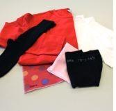 Набор для пиллинга, содержащий 2 части ткани одежды и 4 оригинальный, не пиллингованный / Pilling set containing 2 fabric pieces and 4 garments, pre-pilled